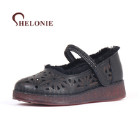 Shelonie Genuine Leather Women Shoes Hook Loop Handmade Casual Leather Shoes Soft Casual Women Sandals Shoes