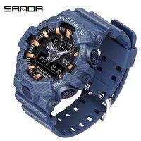 SANDA Multi functional Men Watch Mens Denim Pattern LED Outdoor Sport Wristwatch G Style Military Digital Watches relojes hombre