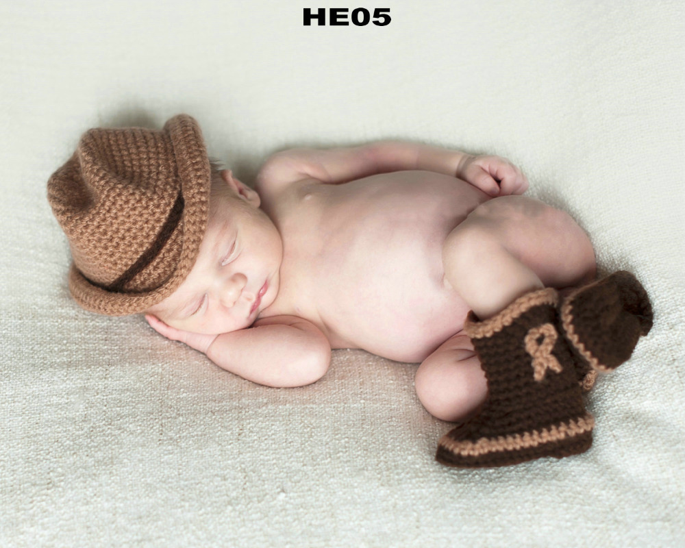 401efd994fb7b Free Shipping 30set lot Crochet baby cowboy hat and booties sets newborn  cap snow boots baby Photography Props baby hat caps-in Hats   Caps from  Mother ...