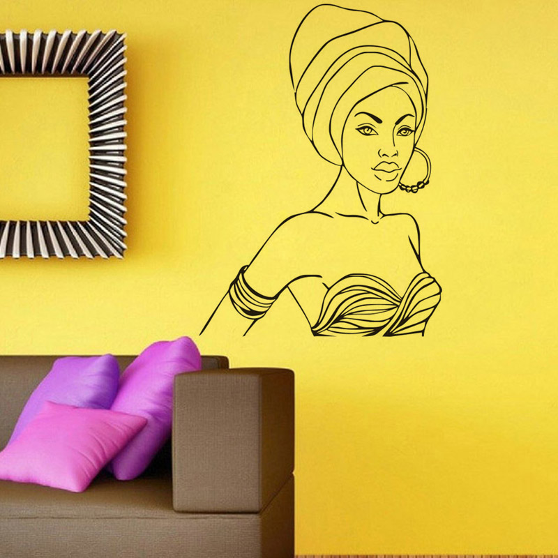 Hot Sales Beautiful African Woman Wall Stickers Vinyl Removable ...