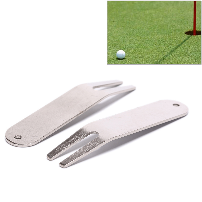Stainless Steel Golf Divot Repair Switchblade Tool Pitch Groove Cleaner Magnetic Golf Pitchfork Putting Golf Training