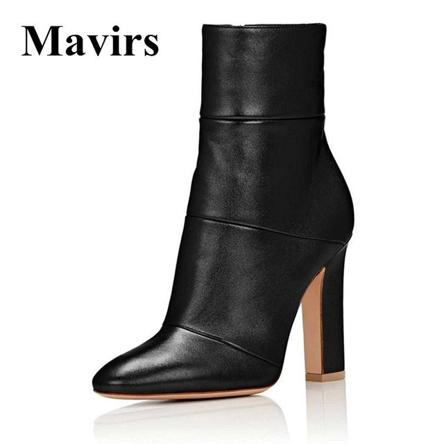 Mavirsnd Women Ankle Boots 2018 Pointed Toe Matt 4 75 Inches Chunky High Heels Black Gray Gold White Shoes Us Size 5 15