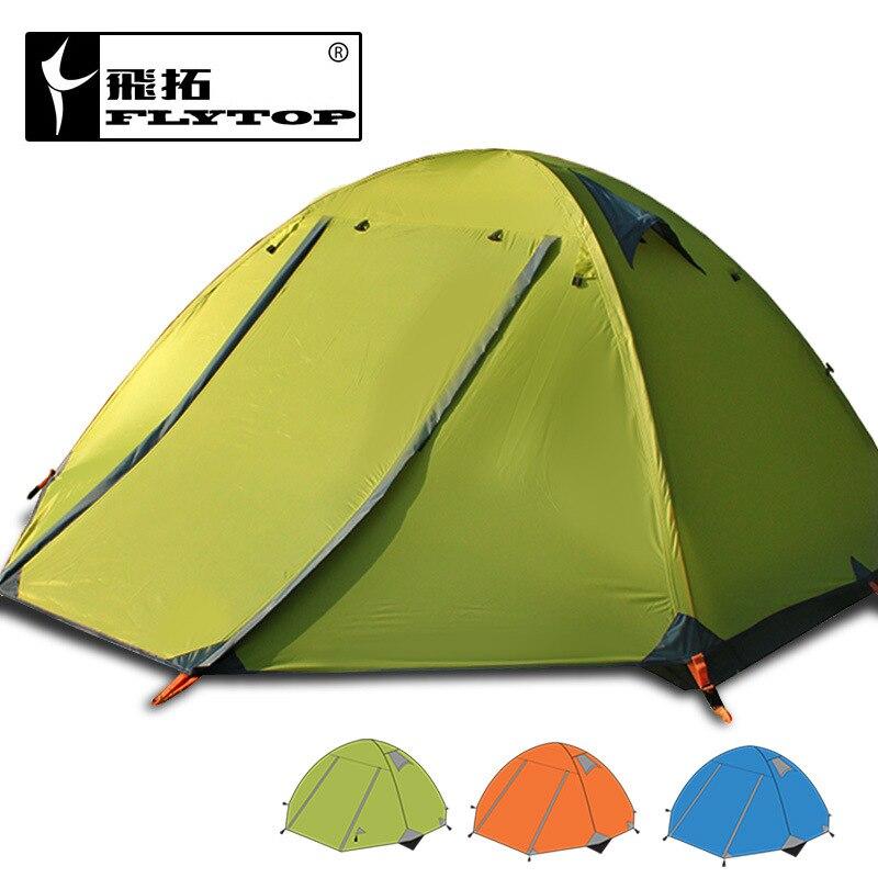 FLYTOP camping extérieur 3 personnes tente double couche double porte en aluminium pôle anti-tempête pluie tente FTZ3001