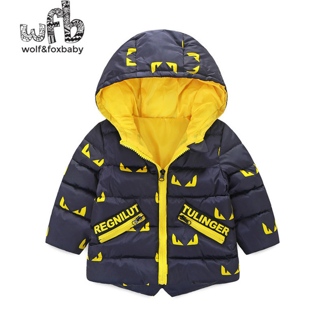 Retail 2-8 years children parkas Thickening full-sleeves cartoon hooded Keep warm coat kids spring autumn fall winter