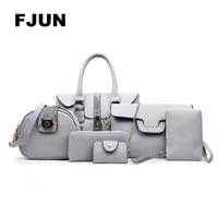 FJUN 2018 6 PCS\Set Women Bags Genuine Leather Handbags High Quality Fashion Cow Leathr Casual Shoulder Bag Female Purse Design