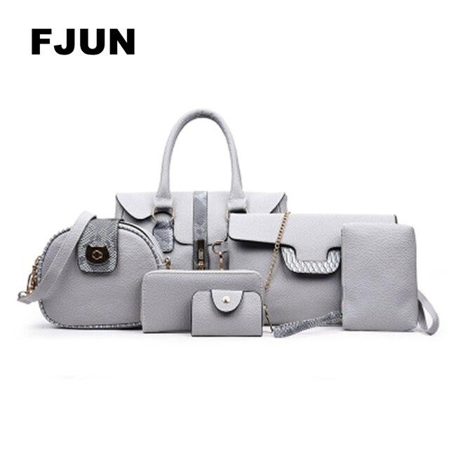 ef707f3012ed FJUN 2018 6 PCS Set Women Bags Genuine Leather Handbags High Quality Fashion  Cow Leathr Casual Shoulder Bag Female Purse Design