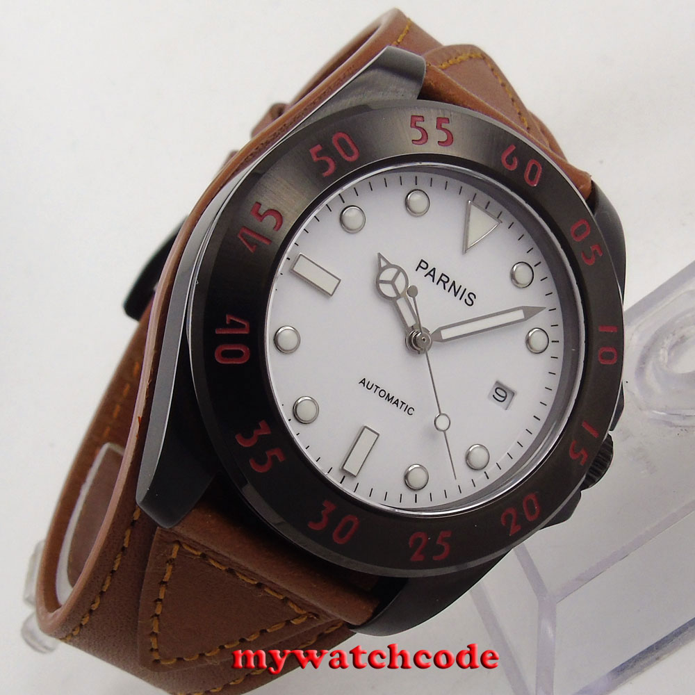43mm Parnis white dial Sapphire Glass PVD case miyato Automatic mens Watch P705 цена и фото