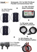 Solarparts 12V 3x18W DIY RVBoat Kits Solar System 18W flexible solar panel1x 10A solar controller 1