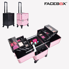 Facebox Trolley Cosmetic Case professional makeup Box with wheels Pink and Black