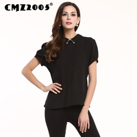 GMZ2005 New Women Vestidos Short Sleeves Beaded Decorations Turn Down Collar Pure Color Fashion Personality Summer