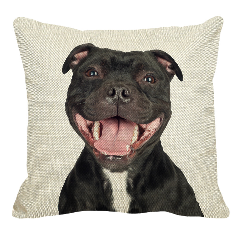 XUNYU Staffy Dog Pattern Linen Pillow Case Sofa Square Decorative Pillow Cover Animal Cushion Cover 45X45cm AC015