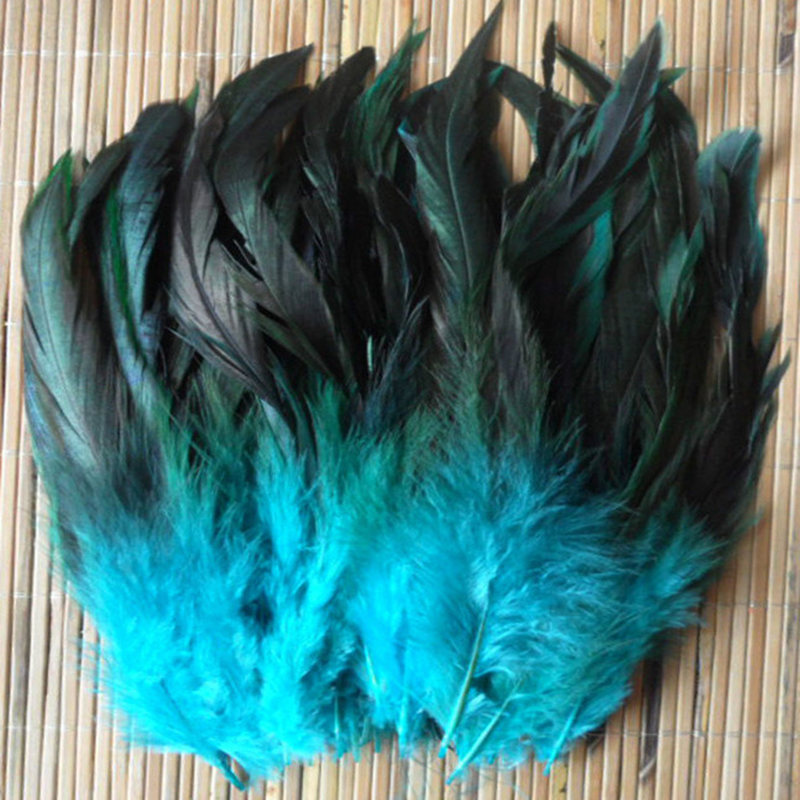 Cheap! 50pcs  Color Beautiful Rooster Feathers 5-8''/12.5-20cm Pheasant Chicken Plume Free Shipping Sky Blue