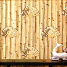 9.5m *0.53m Chinese fan wallpaper teahouse study hotel restaurant background wall decoration Japanese bamboo classic