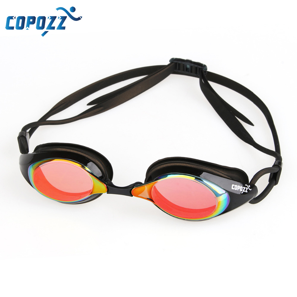 COPOZZ Professional Plating Swimming Glasses Anti-fog UV Protection Waterproof Swim Pool Goggles Mirrored Eyewear for Adult