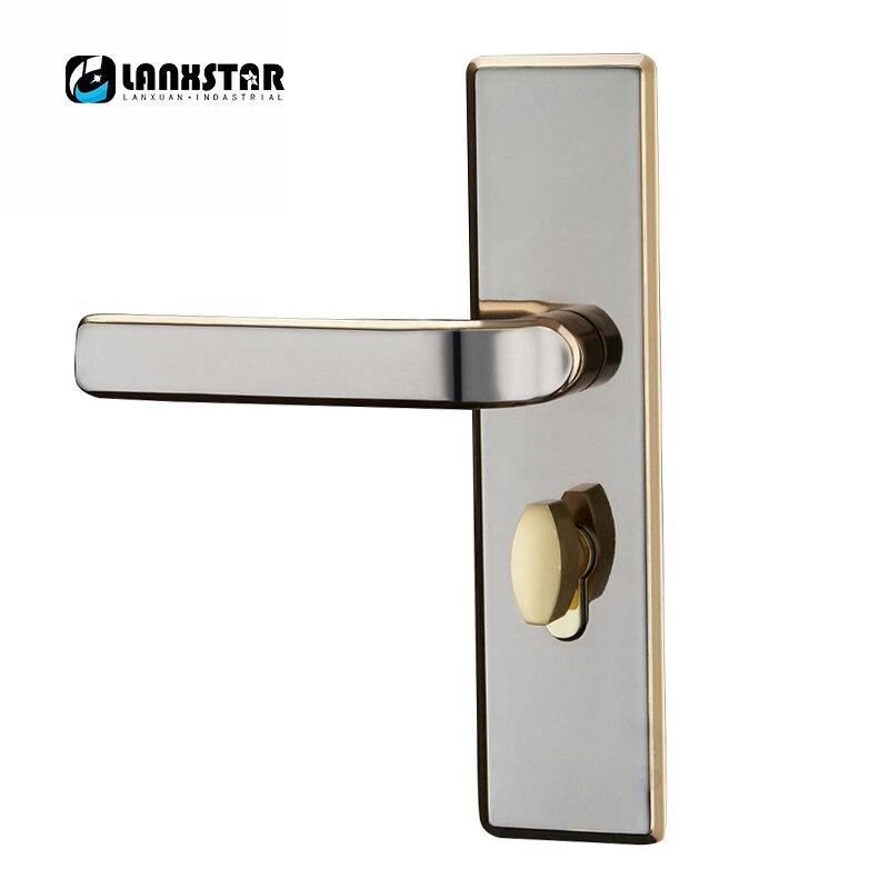 LANXSTAR Stainless Steel European Style Pressure Handles Design Solid Wood Split Handle Lock fashion style mechanical lock handles indoor split handle lock