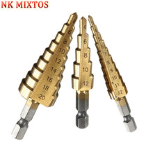 3Pcs/Set Metric Spiral Flute Step HSS Steel Cone Titanium Coated Drill Bits Tool Set Hole Cutter 3-12/4-12/4-20mm
