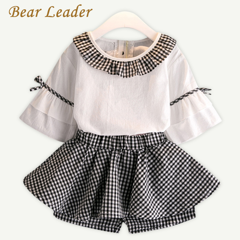 Bear Leader Girls Clothing Sets 2017 Summer Style Kids Clothing Sets Flare Sleeve Shirt+Plaid Skirt Pants 2Pcs for Girls Clothes