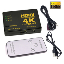 4K*2K 3x1 HDMI Switch Splitter 3 In 1 out HDTV Audio Video Converter Adapter with Remote Control for XBOX360 DVD PS3 Projector