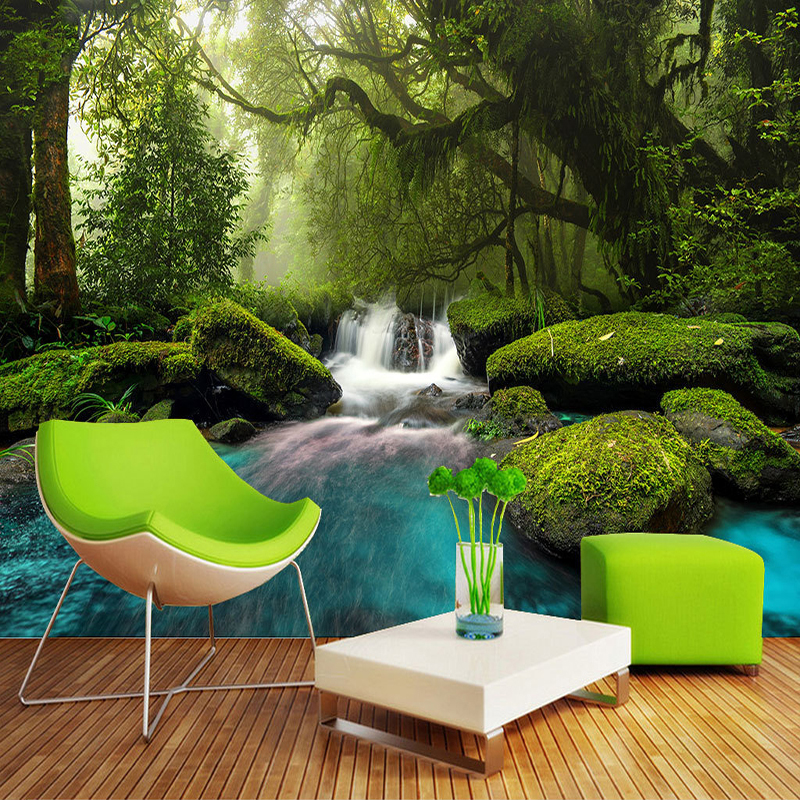 Forest Waterfall Large Murals Custom Photo Mural Wall Papers Home Decor 3D Living Room Sofa TV Background Wall Painting Modern custom photo wallpaper 3d green forest nature landscape large murals living room sofa bedroom modern wall painting home decor