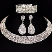 party Women Rhinestone Choker nigerian bridal Necklace Earrings Bangle Wedding Party Jewelry Set Mother's Day collier africain(China)