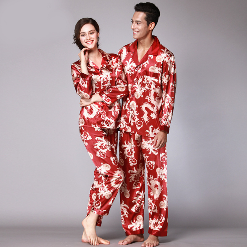 Autumn Couple Pajamas Set Red Paisley Silk Satin Men And Women Sleepwear Long-sleeved Tops + Trousers Suit Print Home Clothes