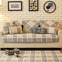 Europe 100% Cotton Sofa Cover Set Plaid Stripe Printed Thick Pad Towel Handmade Patchwork Quilting Slip-resistant Seat Mat