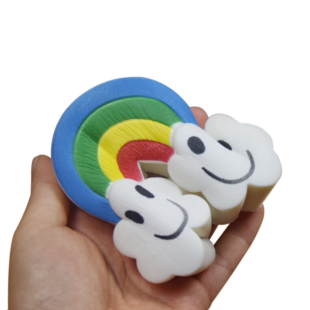 Antistress Elastic Environmentally PU Cat Antistress Squishy Rainbow Clouds Scented Slow Rising Scented Fun Animal Toys