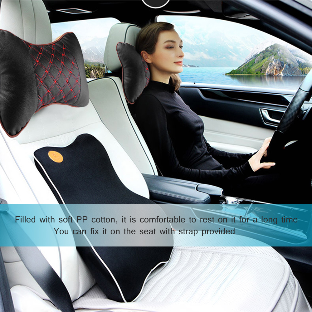 Image 2 - Car Neck Pillow PU Leather PP Cotton Car Pad Embroidery Chair Headrest Supplies Neck Safety Pillow For Cars Interior Accessories-in Neck Pillow from Automobiles & Motorcycles