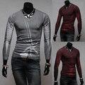 Envío gratis 2015 nueva llegada camiseta para hombre de la moda de manga larga camisas con cuello en v camisas casuales hombres 2 colores M-XXL H7728