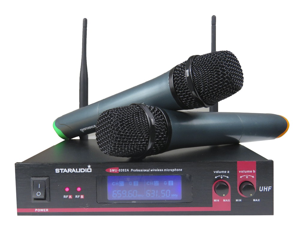 STARAUDIO SMU-0202A 2CH UHF Pro DJ Stage Church Karaoke Club Wireless Handheld Mic System xtuga ew240 4 channel wireless microphones system uhf karaoke system cordless 4 handheld mic for stage church use for party