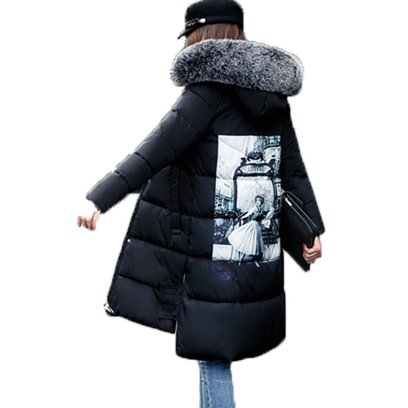 2017 New Winter Women Parkas Casual Long Sleeved Hooded Faux Fur Collar Medium Long Thick Print Jacket Jaqueta Feminina Inverno