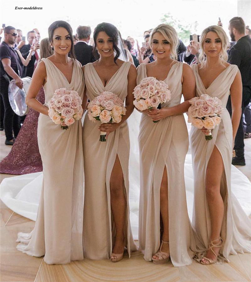 Simple Champagne   Bridesmaid     Dresses   Chiffon V Neck Side Split Maid Of Honor   Dress   Sleeveless Long Wedding Guest Party Gown Cheap