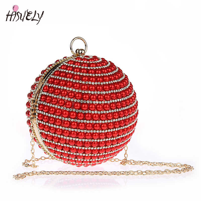 4 вида цветов 2019 hisuely Для женщин жемчужные вечерние сумки расшитые бисером клатч форме полусферы круглый шар форма ручной работы свадебные сумочки WY122