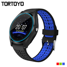 TORTOYO V9 Bluetooth Smart Watch 1.22 inch Round Screen Sports Camera Wristband Support TF SIM Card Push Message for iOS Android