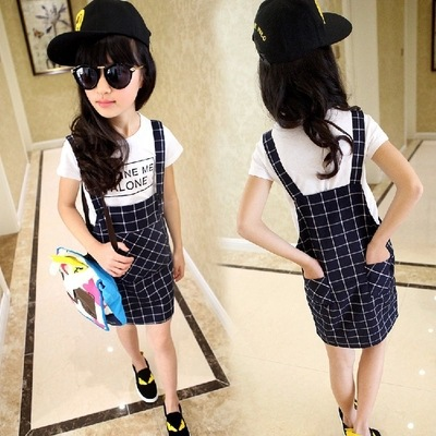 Kids Girls Plaid Dress Suspender Summer Kids Girl Overalls Children' Clothing Set 2Pcs Short Sleeve T-shirt + Suspender Overall for ipad air 2 case 360 degree rotating stand leather case smart cover with automatic wake sleep function for ipad6