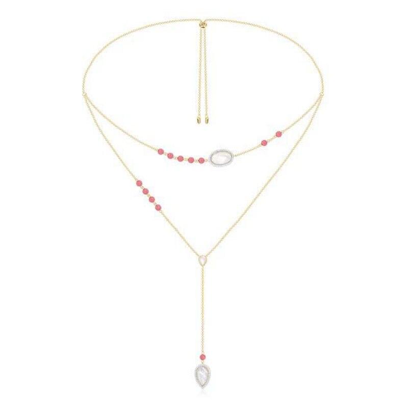 Sljely女性多層赤珊瑚ネックレス100% 925スターリングシルバーaaaキュービックジルコニアゴールドカラーピンクキャンディーネックレスモナコ  グループ上の ジュエリー & アクセサリー からの チェーンネックレス の中 1