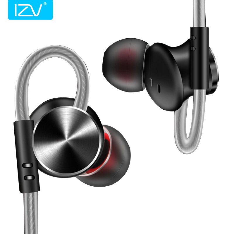 IZV Sport Power Amplifier Heavy Bass Earphones Metal Magnetic Adsorption Wired Control Noise Isolating In-ear Earphone with Mic
