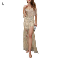 Summer Sling Sequins Sexy Backless Dress  Womens Tassel Hot Drilling New V-neck Deep Hanging