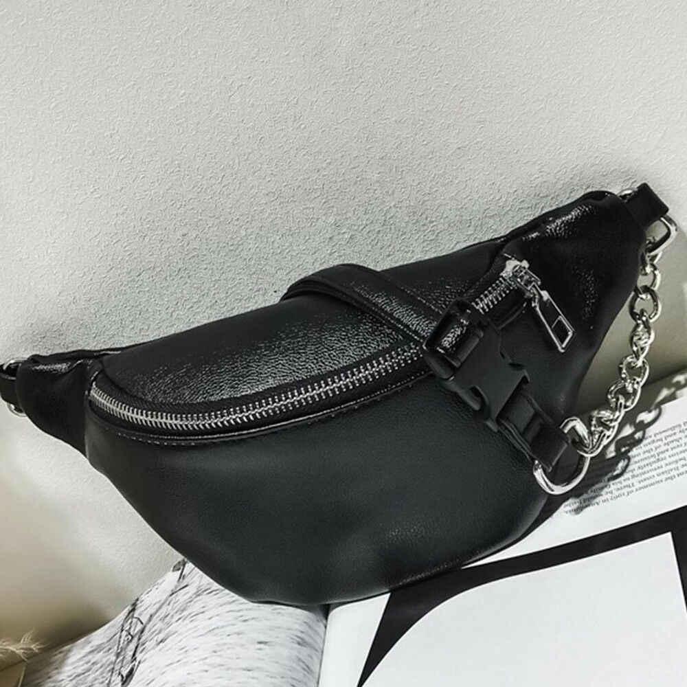 2019 Yeni Sıcak Metal Zincir Lychee Deri Fanny paket bel çantası Rahat Su Geçirmez anti-hırsızlık Kadın bant kemer Çok fonksiyonlu Çanta