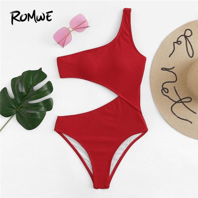 Romwe Спорт Красный одно плечо Вырез Цельный купальник женский летний простой беспроводной пляжный отдых сексуальный Монокини Купальники