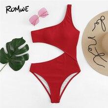 Romwe Sport Red One Shoulder Cutout One-Piece Swimsuit Women Summer Plain Wireless Beach Vacation Sexy Monokinis Swimwear цена 2017