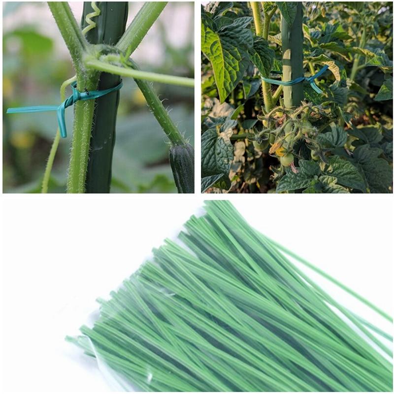 100pcs Green Gardening Vine Climbing Plants Cable Tie Lines Plant Brackets Parts Bonsai Flower Cucumber Grape Rattan Supports