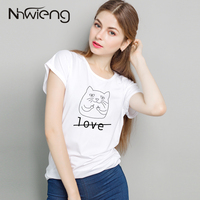 Good Quality Summer Female Tees Cats Love Loose Batwing Sleeve Free Size T Shirt Long Clothes