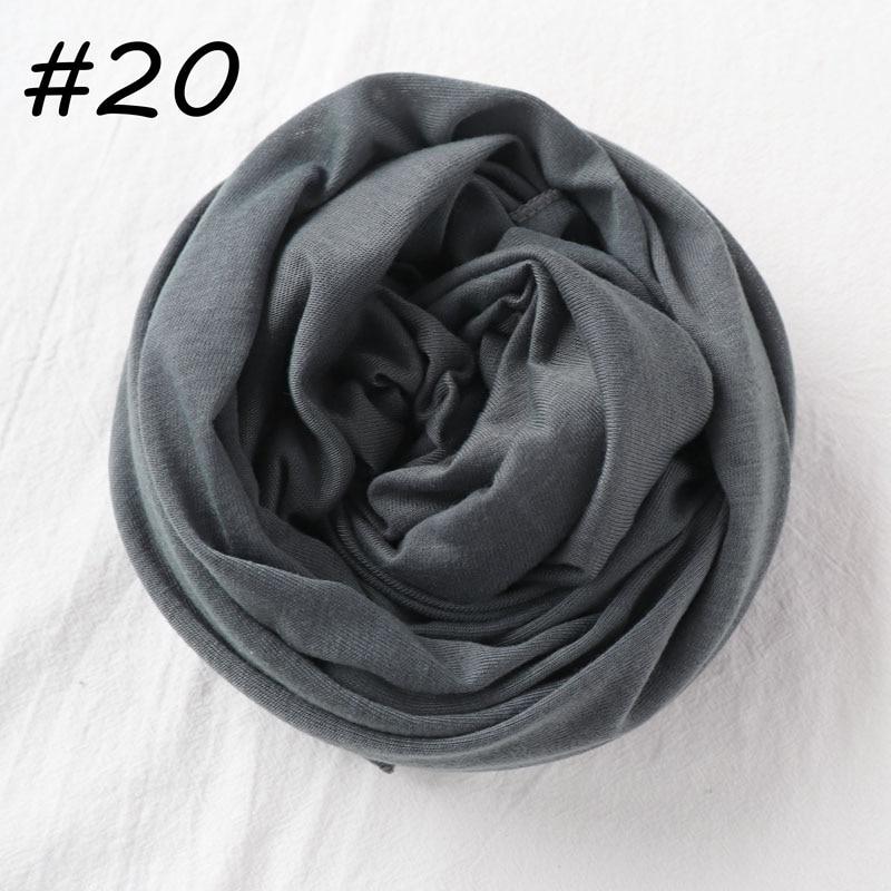 Один кусок Хиджаб Женский вискозный Джерси-шарф Мусульманский Исламский сплошной простой Джерси хиджабы Макси шарфы мягкие шали 70x160 см - Цвет: 20 gray
