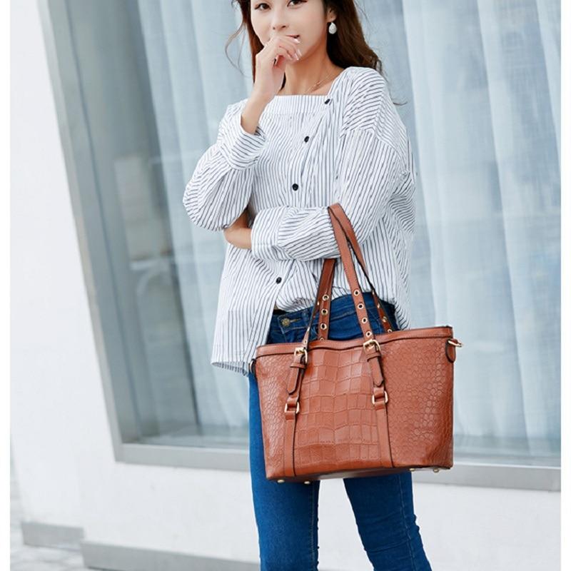 Alligator Handbag Top Handle Handbags Leather Tote Large Capacity Shoulder Bags For Women Bolsa Feminina