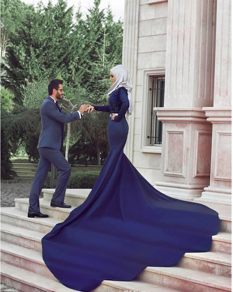 noble royal blue muslim wedding dress 2016 lace long sleeve mermaid wedding gowns 2017 crystal cathedral