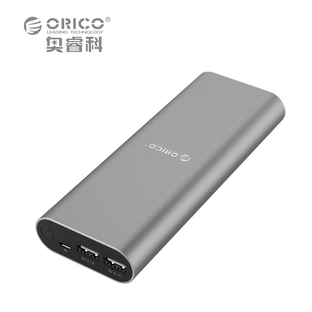 ORICO S2 18000mAh Dual USB Port Power Bank Smart Identification for iPhone 6s Samsung S6 Xiao mi Mi Pad etc- Gray / Pink
