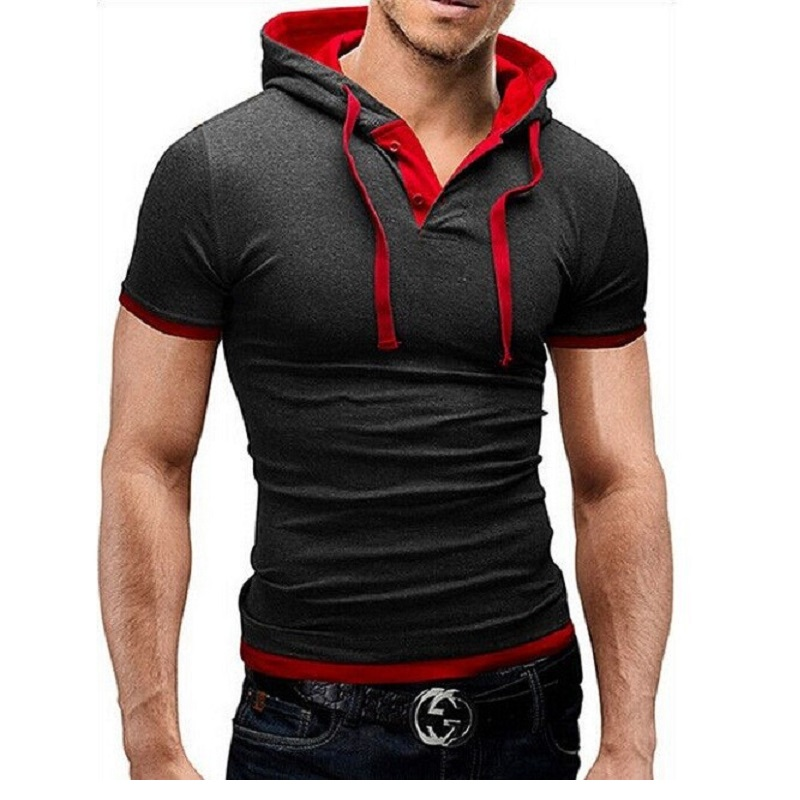 New 2016 Summer Mens Slim fit T shirt With a Hood Short Sleeve  T-shirt For Men Hip Hop Swag Tshirts Camisetas Masculina XXL