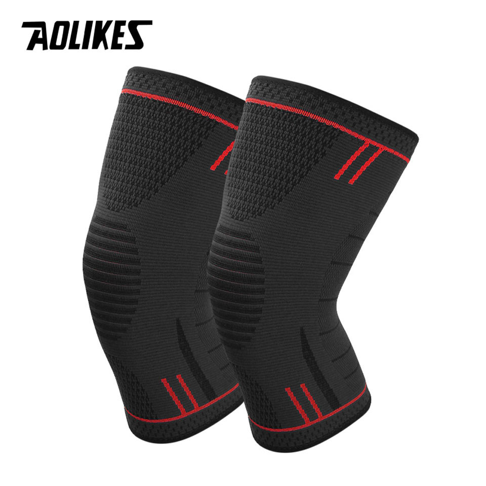 AOLIKES 1 par antideslizante de silicona deportes de apoyo para correr ciclismo de baloncesto la artritis y lesión de recuperación de Kneepad
