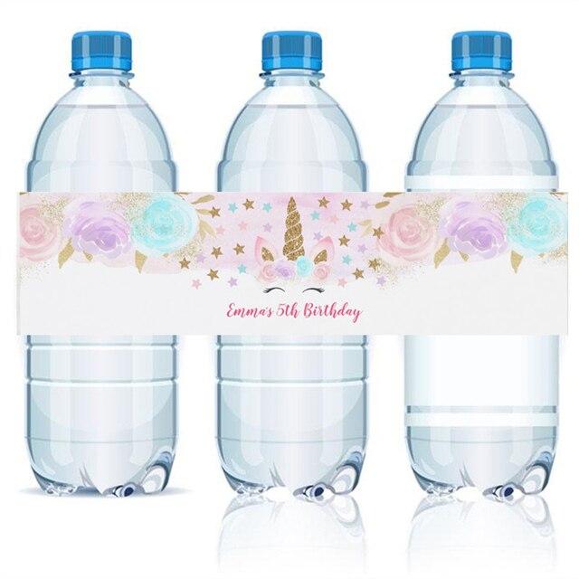 Customized Personalized Unicorn Water Bottle Labels Unicorn Party - Printable-water-bottle-labels